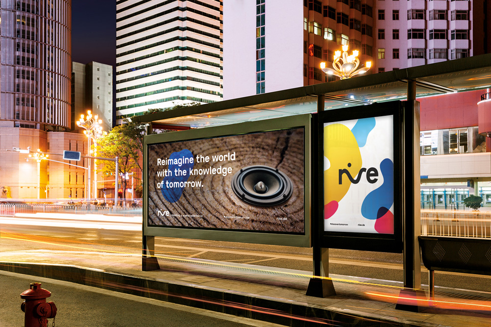 rise branding at a bus stop